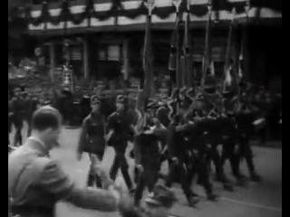 Парад NSDAP 1934 года в Нюрнберге на Адольф Гитлер платц под песню Ich Will груп.mp4