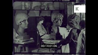 1930s Hungary, Technical Schools, Students Sculpting, 16mm