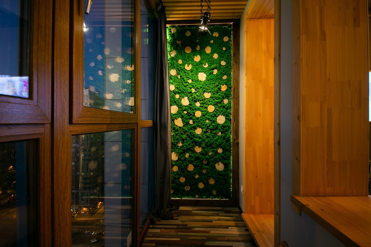 Оригинальный интерьер квартиры-студии в стиле лофт в Санкт-Петербурге.
