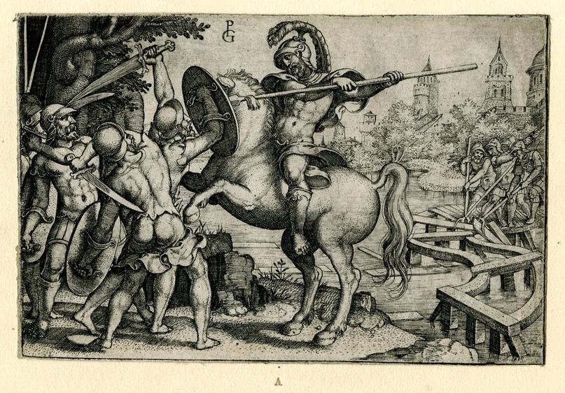 1537 год Гораций Коклес; верхом на лошади в центре, сражаясь с этрусскими войсками слева, в то время как римские солдаты справа разрушают мост через Тибр