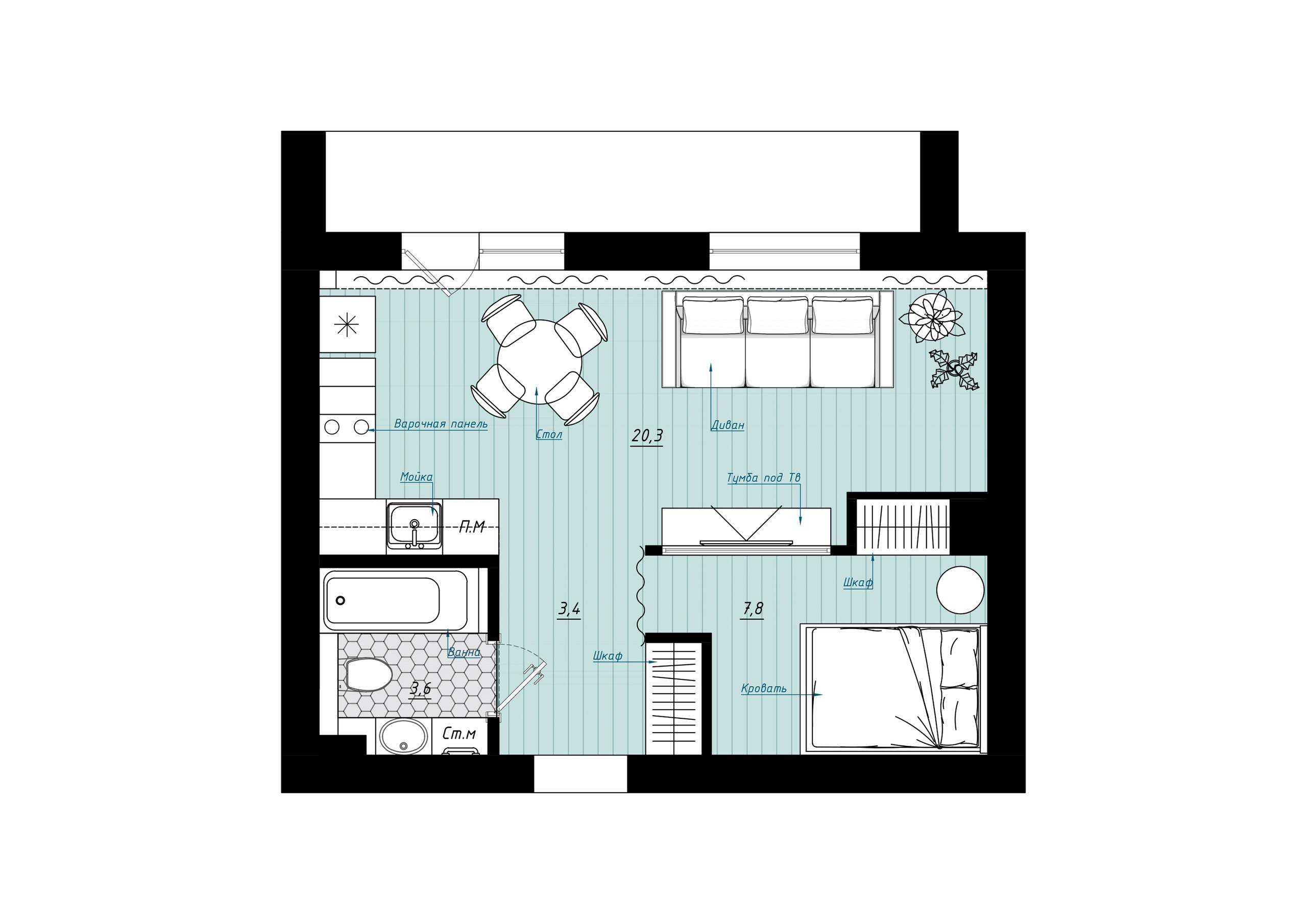 Интерьер квартиры 36 кв.
