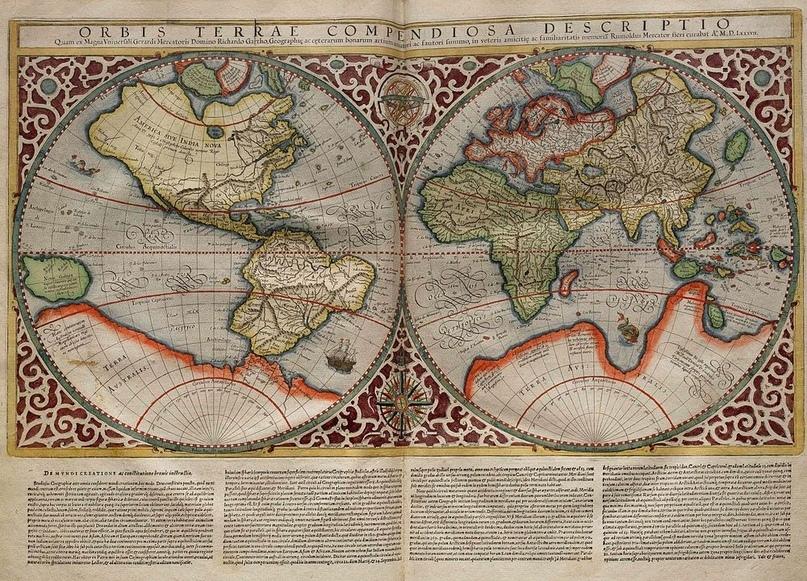 Исторические представления о Южном континенте. Карта Меркатора, 1587 год.