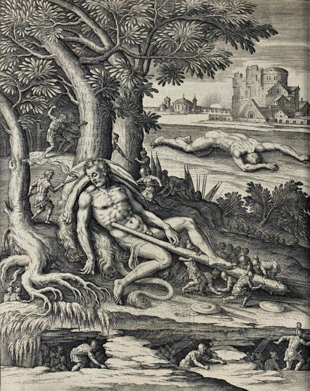 Согласно греческой мифологии, пигмеи однажды встретили Геракла, и, взбираясь на спящего героя, пытались связать его, но когда он встал, они упали. Тарелка из коллекции Les Images Ou Tableaux De Platte Peinture Des Deux Philostrates Sophistes Grecs Блеза де Виженера, Париж, 1615 г. Найдена в коллекции Жана Клода Каррьера.