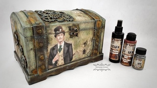 Decoupage # trunk for a man with a rust effect  #cadence # DIY tutorial...