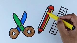 Ножницы карандашный рисунок для детей Scissors pencil drawing for children